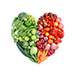 vegetables arranged in the shape of a heart