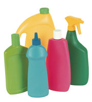 Bottles of various household chemicals.