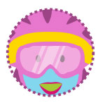 An illustration of the face girl wearing protective goggles.