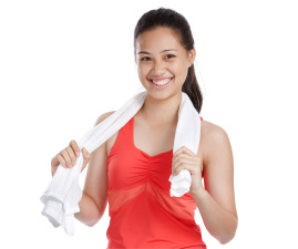 young happy woman with towel